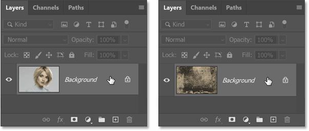 第一个文档(左)和第二个文档(右)的图层面板
