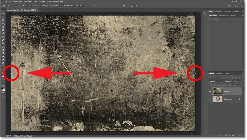 在 Photoshop 中使用自由变换缩放放置的图像
