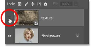 在 Photoshop 的图层面板中打开纹理图像