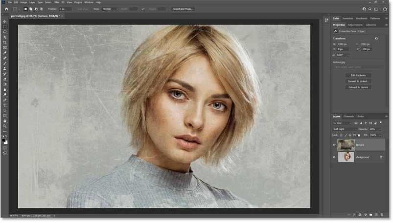 纹理和图像在 Photoshop 中混合在一起