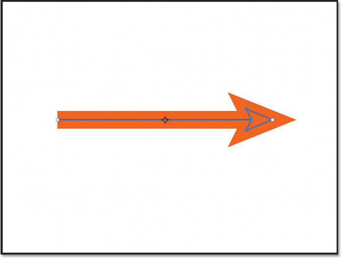 An arrow drawn using the Line Tool in Photoshop 2021