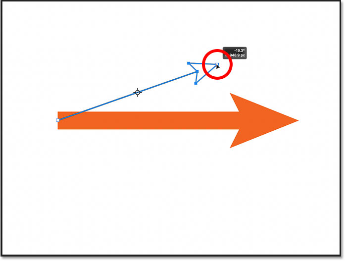 Adjusting the length and angle of the line using the On-Canvas Controls