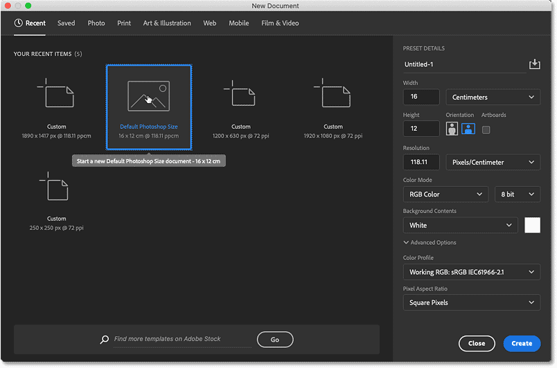 Choosing the Default Photoshop Size preset for the new document