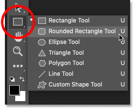 Selecting the Rounded Rectangle Tool in Photoshop's toolbar