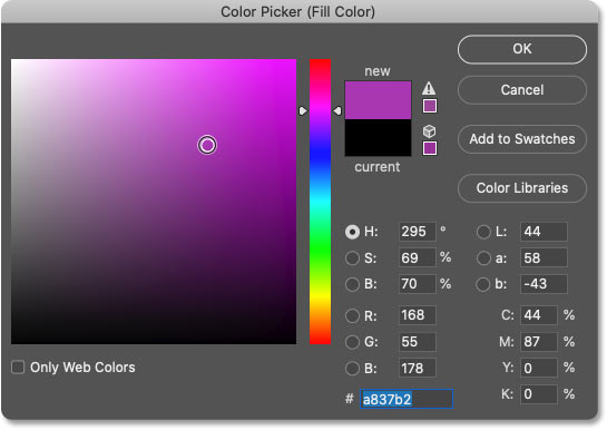 Choosing the shape's fill color from Photoshop's Color Picker