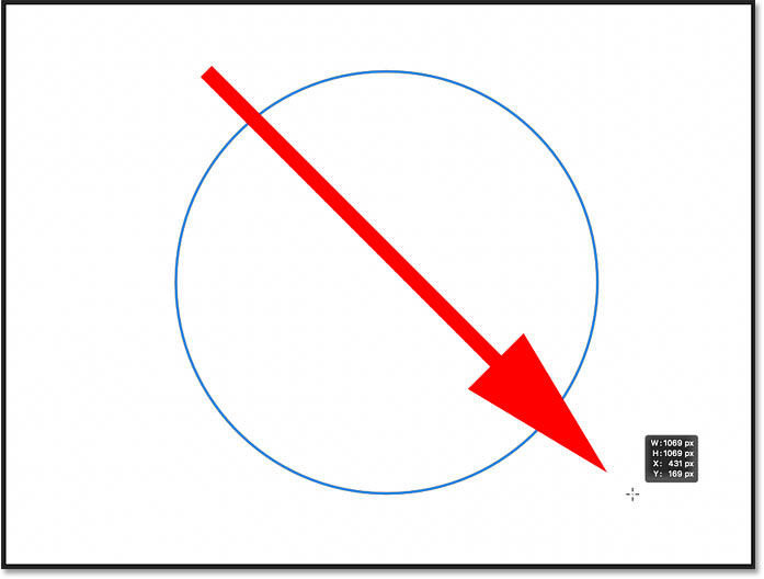 Drawing a circle with the Ellipse Tool in Photoshop