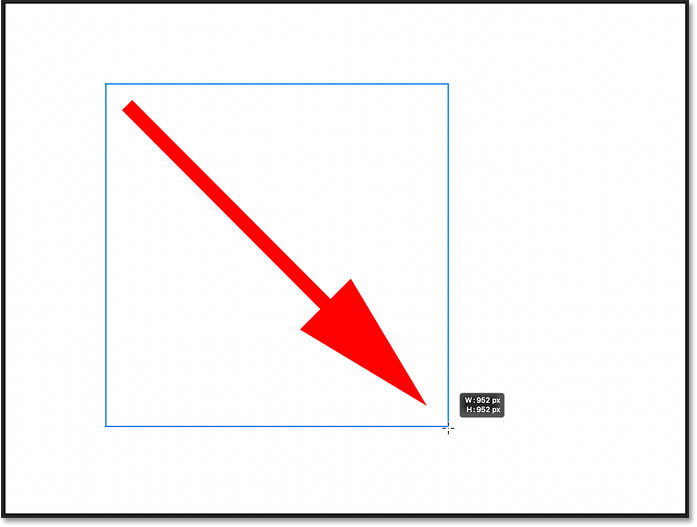 Holding Shift to draw a perfect square with the Rectangle Tool in Photoshop