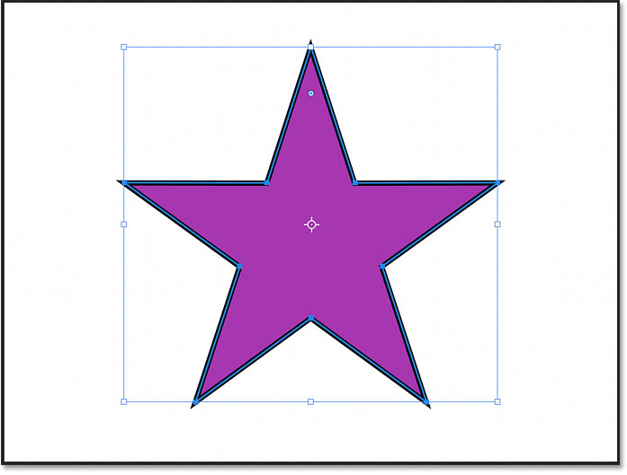 A star shape drawn with the Polygon Tool in Photoshop 2021
