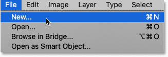 Creating a new document from Photoshop's Menu Bar