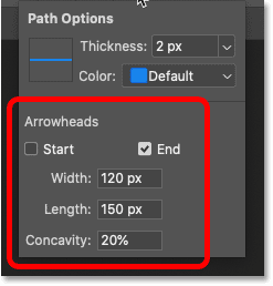 The arroehead options for the Line Tool in Photoshop's Options Bar