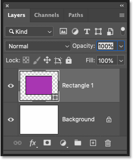 The new shape layer in Photoshop's Layers panel