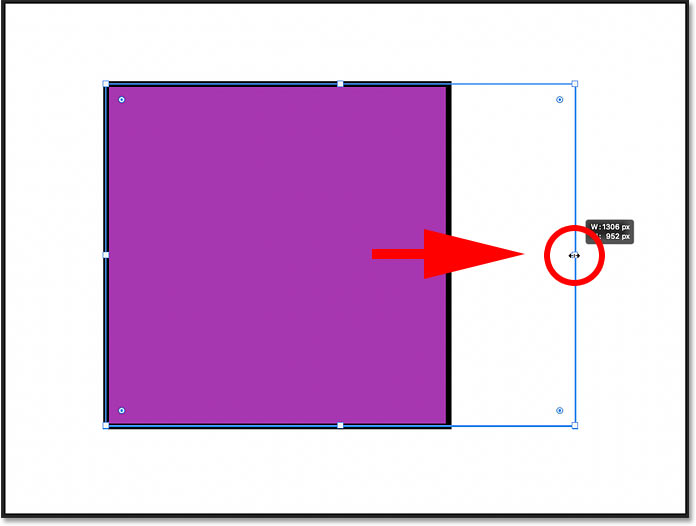 Dragging an On-Canvas Control handle to resize the shape non-proportionally in Photoshop