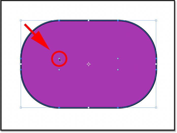 Adjusting the corner radius of the Rounded Rectangle Shape using the On-Canvas Controls in Photoshop