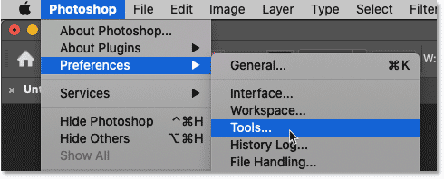 Opening the Tools preferences in Photoshop