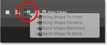 The Path Alignment options for the shape tool in Photoshop
