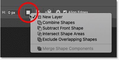 The Path Operations commands for the shape tool in Photoshop