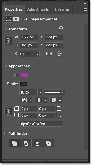 The Properties panel in Photoshop showing the live shape properties