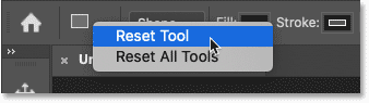 How to reset a shape tool to its default settings in Photoshop