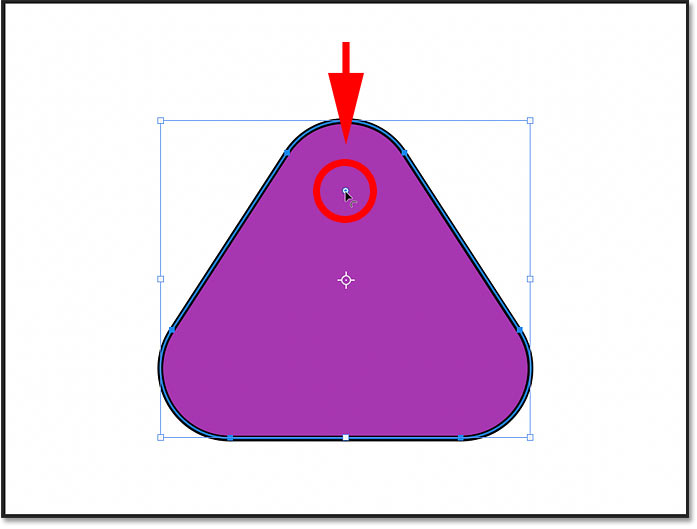 Rounding the triangle corners using the On-Canvas radius control in Photoshop 2021