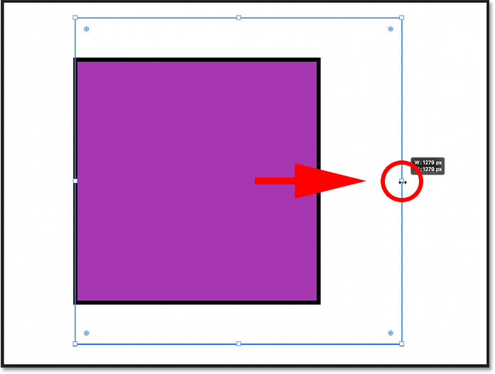 Holding Shift while dragging an On-Canvas Control handle to resize the shape proportionally in Photoshop