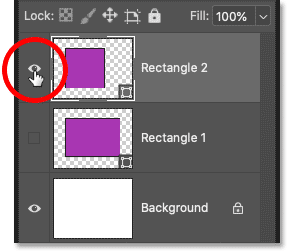 Each new shape is added on its own layer in Photoshop's Layers panel