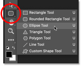 Selecting the Ellipse Tool from Photoshop's toolbar