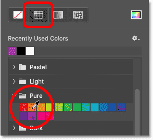 Choosing a stroke color for the Line Tool in Photoshop 2021