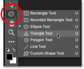 Selecting the Triangle Tool from Photoshop's toolbar