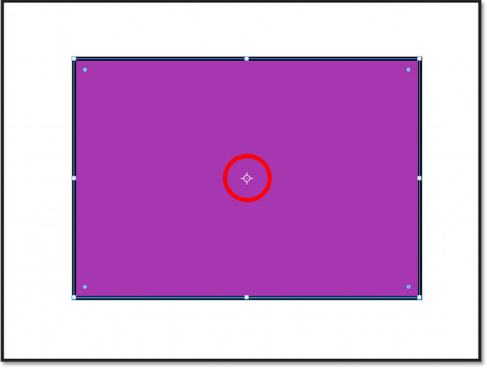 The reference point icon is now visible in the center of the shape