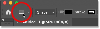 The selected shape tool's icon in Photoshop's Options Bar