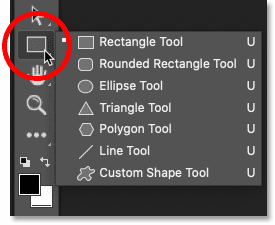 The shape tools in the toolbar in Photoshop