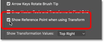 Turning on the Show Reference Point when using Transform option in Photoshop's Preferences