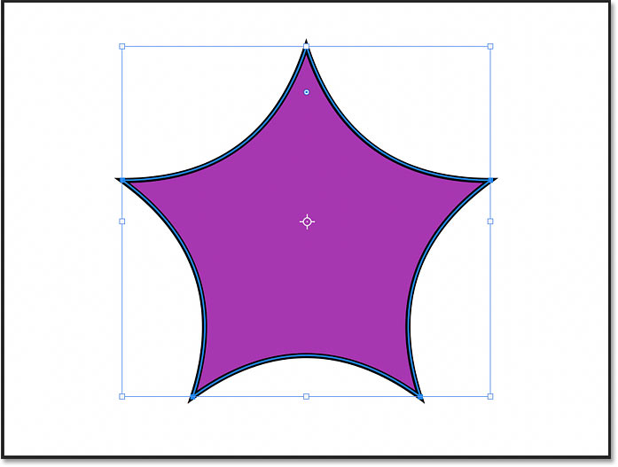 The star shape with Smooth Star Indents selected in Photoshop's Properties panel