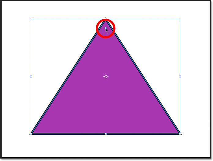 The corner radius control for shapes drawn with the Triangle Tool in Photoshop