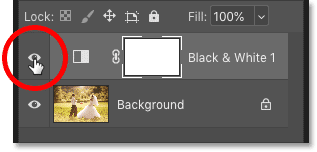 Using the visibility icon to turn the adjustment layer on and off in Photoshop