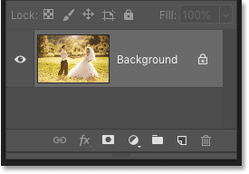 Photoshop's Layers panel showing just the original image on the Background layer