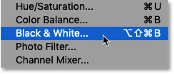 Selecting a Black & White image adjustment in Photoshop