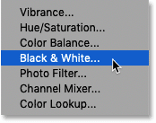 Selecting a Black and White adjustment layer in Photoshop