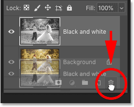 Deleting the 'Black and white' layer in Photoshop's Layers panel