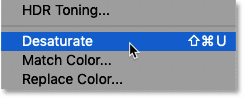 Choosing the Desaturate command in Photoshop
