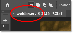 The Photoshop document tab showing the new .psd file