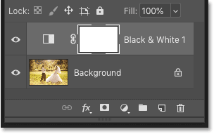 Photoshop's Layers panel showing the adjustment layer above the Background layer
