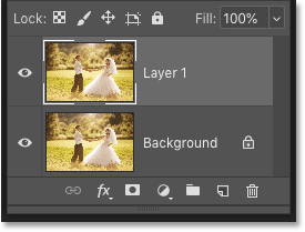Photoshop Layers panel showing the copy of the Background layer