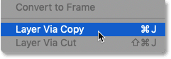 Choosing the New Layer via Copy command in Photoshop