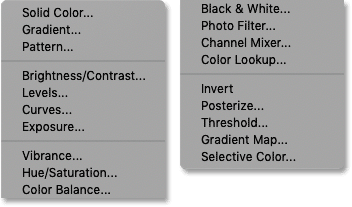 The list of Photoshop's fill and adjustment layers