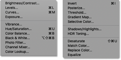 The list of Photoshop's standard image adjustments
