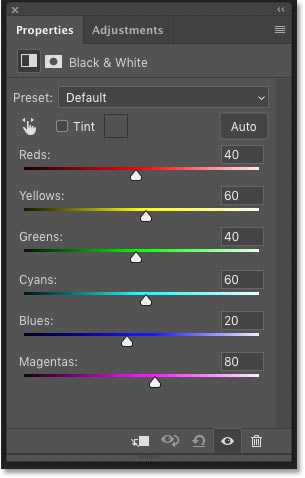 Photoshop's Layers panel showing the Black and White adjustment layer controls