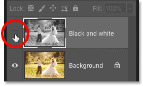 Turning on the 'Black and white' layer in Photoshop