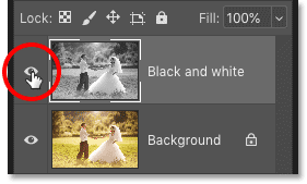 Clicking the visibility icon for the 'Black and white' layer in Photoshop