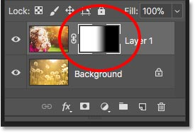 The layer mask thumbnail showing where the two images are blended together